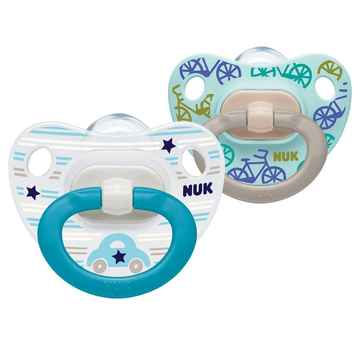 3066356 nuk happy days baby dummies 6 18 months silicone bpa free bikecar 2 count